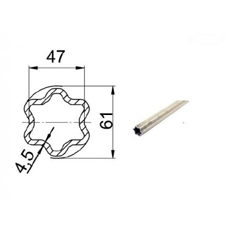 Rura zewnętrzna L3000, profil gwiazdka, S5, W2500, G8