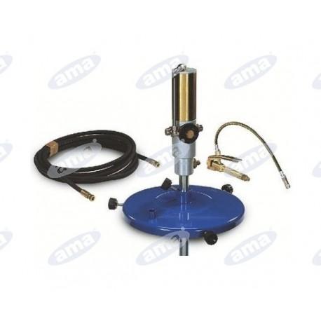 Pompa pneumatyczna, bębnowa 50 kg składa się z: pompy, wąż 6 m, pokrywy bębna, Pistolet z rurką i głowicy, mocowanie 1/4