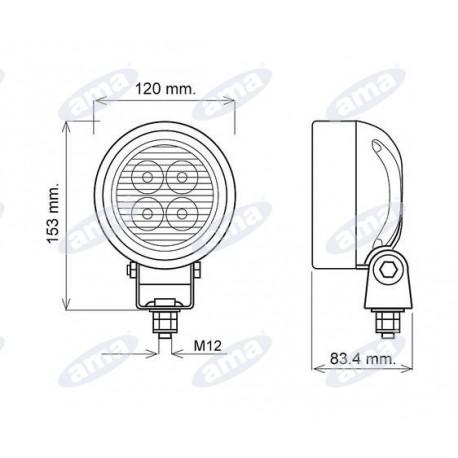 Światło robocze LED 9-56V 12W 500lm