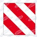 Tablica ostrzegawcza biało czerwona odblaskowa 423X423X0,8 MM PRAWA